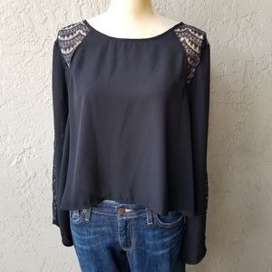 ASTR Black Long Sleeve Blouse with lace detail